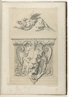Griffin and shield with lion by Michel Liénard, 1866. Rijksmuseum, Public Domain. @Google.