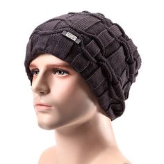 Men Wool Knitted Beanie Hat Arctic Velvet Lining Warm Winter Outdoor Ski Cap at Banggood
