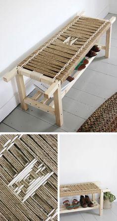 banc tissé, bois, bout de lit, corde, décoration, DIY, entrée