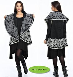 Poncho din lana gri cu negru cu guler sal si croiala clos Gloria Trevi, Kimono Top, Tunic Tops, Women, Fashion, Templates, Moda, Women's, Fashion Styles