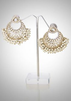 Chand bali in diamond and pearl