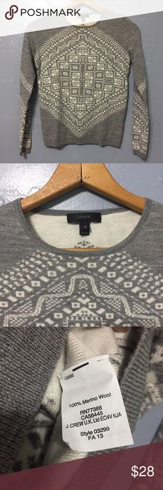 EUC J. Crew 100% Merino Wool Sweater Size XS Gray and white 100% Merino wool sweater. Beautiful and intricate design. J. Crew Sweaters