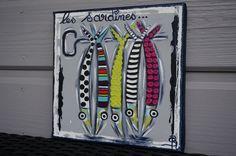 Tableau sardines peinture colorée moderne personnalisable : Peintures par sylvie-creation