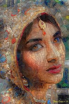 Mosaic artwork by artist Bruno Cerboni. Mosaic Tile Art, Mosaic Artwork, Mosaic Portrait, Collage Artwork, Smart Art, Moon Art, Woman Painting, Beautiful Paintings, Pottery Art