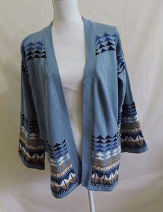 Woolco Vintgage Women Blue Strollerette Long Sleeve Cardigan Size L #woolco…