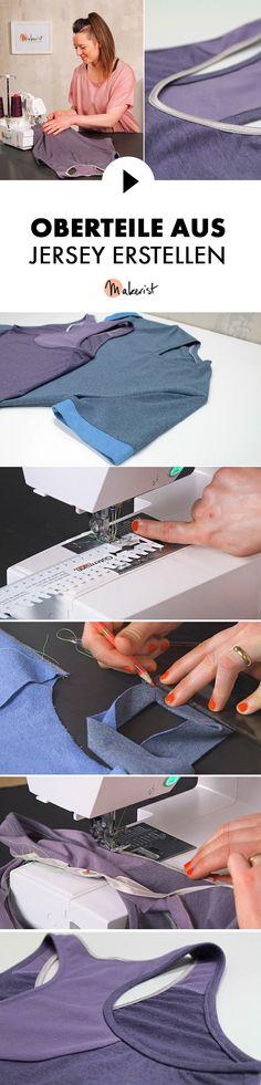 Eigene T-Shirts und Tops aus Jersey nähen - Step by STep erklärt im Video-Kurs via Makerist.de