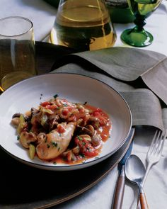 Chicken Cacciatore with Cremini Mushrooms | Martha Stewart Living - Selenium, potassium, antioxidants, and B vitamins abound in this full-flavored wild mushroom and chicken dish. Dry sauvignon blanc and rosemary amplify the woody blend of mushrooms and vegetables.