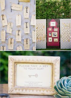 key escort cards - if you do it like this, then you do not need any floral arrangements for Place cards. Wedding Signs, Wedding Favors, Wedding Events, Our Wedding, Destination Wedding, Wedding Planning, Dream Wedding, Wedding Decorations, Weddings