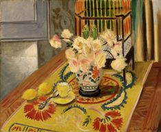 Yellow Roses with Cage of Parakeets - Henri Matisse 1924 French Oil on canvas Henri Matisse, Matisse Kunst, Matisse Art, Pablo Picasso, Matisse Pinturas, Matisse Paintings, Atelier D Art, Post Impressionism, Parakeet