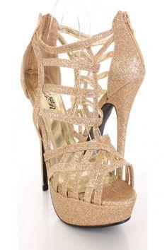 gold strappy platform heels - Google Search
