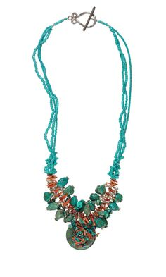 Jewelry Design - Triple-Strand Necklace with Turquoise Beads and Dyna-Mites™ Seed Beads - Fire Mountain Gems and Beads