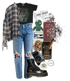 """One Way"" by duvide ❤ liked on Polyvore featuring Junk Food Clothing, Dr. Martens, UNIF and grunge"