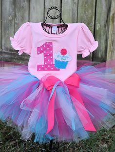 Cupcake Birthday Tutu Outfit pinks by tutticutesytutus on Etsy, $49.99