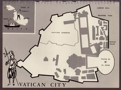Charming VATICAN CITY Map Italy Map Fun and Funky 60s Picture Map