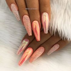 REPOST – – – – Peachy Orange Aurora Effect and Glitter on long Coffin Nails – – … – Long Nails – Long Nail Art Designs Cute Acrylic Nails, Acrylic Nail Designs, Glitter Nails, Nail Art Designs, Acrylic Nails Orange, Glitter Makeup, Orange Nail Designs, Autumn Nails Acrylic, Glitter Nail Designs