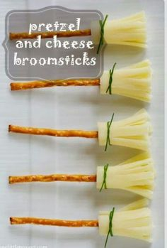 Pretzel and cheese broomsticks