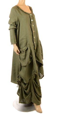 Eden Fab Lagenlook Khaki Ruffle Linen Skirt - Summer 2013-Eden, lagenlook…