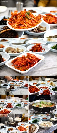 One of my favorite things about Korean food is the side dishes. Korean rice and side dish table, Gunsan, Korea