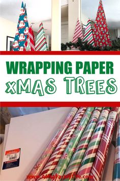 Diy Wrapping Paper Christmas Tree, Paper Christmas Trees, Cheap Christmas Decorations, Christmas Wreath Cookies, Wrapping Paper Crafts, Xmas Trees, Christmas Colors, Christmas 2019, Christmas Ideas