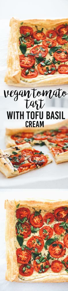 Vegan Tomato Tart With Tofu Basil Cream Vegan Tomato Tart with Tofu Basil Cream - simple, delicious and made in under 30 minutes.Vegan Tomato Tart with Tofu Basil Cream - simple, delicious and made in under 30 minutes. Vegan Appetizers, Vegan Dinner Recipes, Delicious Vegan Recipes, Whole Food Recipes, Vegetarian Recipes, Cooking Recipes, Healthy Recipes, Kitchen Recipes, Spinach Recipes