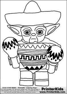 Lego Star Wars - Mexican Yoda - Coloring Page
