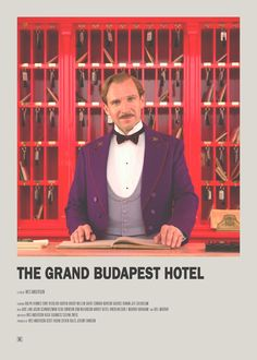 The Grand Budapest Hotel Minimal Movie Poster Iconic Movie Posters, Minimal Movie Posters, Cinema Posters, Iconic Movies, Good Movies, Film Poster Design, Poster S, Movie Poster Art, Poster Designs