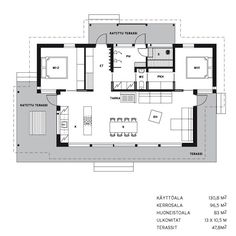 House Plans One Story, Small House Plans, Scandinavian Architecture, Architecture Design, House In The Woods, My House, Bungalows, My Dream Home, Small Spaces
