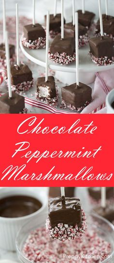Home-made marshmallows dipped in chocolate and crushed candy canes make for a perfect holiday treat! via /preppykitchen/