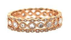 Beverly K Collection Rose Gold and Diamond Stacking Rings