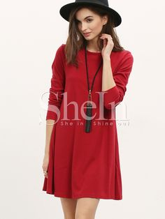 12$  Buy here - http://dijz2.justgood.pw/go.php?t=923 - Burgundy Long Sleeve Casual Dress 12$