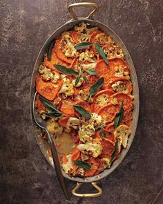 Healthy Casserole Recipes You Won't Believe Are Good: Sweet Potato-Cauliflower Gratin with Crispy Sage Leaves