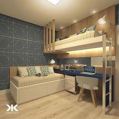 Beliche: 70 modelos perfeitos para quartos charmosos e funcionais Boy Bedroom Design, Loft Bed Plans, Kids Room Design, Bedroom Loft, Modern Kids Room Design, Bunk Bed Rooms, Diy Loft Bed, Dream Rooms, Kid Room Decor