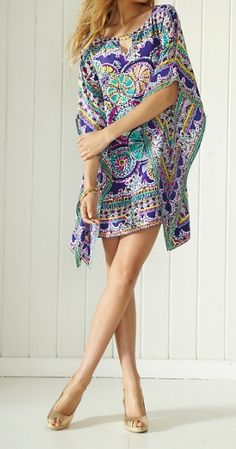 Lilly Pulitzer Lindamarie Silk Caftan in Skipping Stones