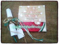 #προσκλητηριο_βαπτισης_με_θεμα_καρπουζι #βαπτιση_με_θεμα_καρπουζι Place Cards, Collage, Gift Wrapping, Place Card Holders, How To Plan, Gifts, Wedding, Gift Wrapping Paper, Valentines Day Weddings