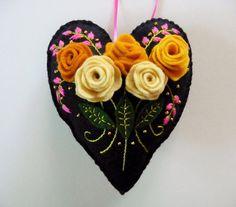 Felt Heart Ornament / Flower Ornament / by heartfeltwhimsy on Etsy