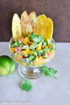 Mango Avocado Salsa and Plantain Chips - some of my favorite foods! Mexican Food Recipes, Diet Recipes, Snack Recipes, Healthy Recipes, Ethnic Recipes, African Recipes, Spanish Appetizers, Yummy Appetizers, Appetizer Recipes