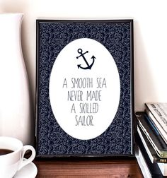 A smooth sea never made a skilled sailor, Nautical Printable Art, Doodle, Wall art, Illustration, Anchor on Etsy, $5.00