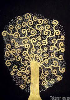 Maak de boom met gouden stift/fineliner en de 'bladeren' met wit potlood.