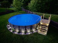 Above Ground Pool Landscaping, Backyard Pool Landscaping, Backyard Pool Designs, Small Backyard Pools, Outdoor Pool, Above Ground Swimming Pools, Swimming Pools Backyard, In Ground Pools, Diy In Ground Pool