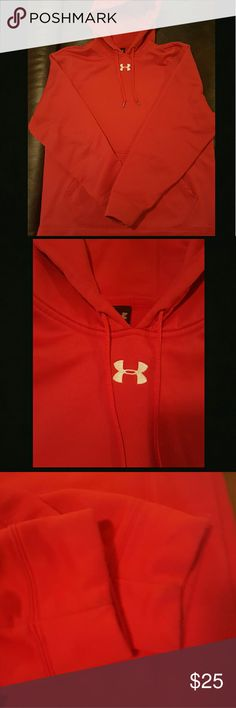 Men's Under Armour Hoodie Red size Large hoodie.  In good used condition. The cuff around the sleeve shows a bit of discoloration that I attempted to take pictures of but unable to get to show up in photos. Under Armour Sweaters