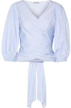 Elizabeth and James - Farrah Striped Cotton-poplin Wrap Top - Sky blue