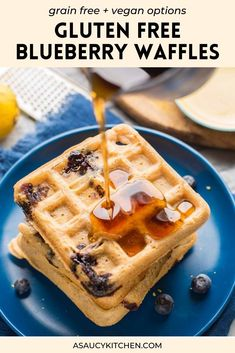 Light, crisp, buttery and delicious - these gluten free blueberry waffles are just the thing to spruce up your boring breakfast routine! Make these as a special treat and/or save and freeze the leftovers to enjoy even throughout the week. This recipe has been tested multiple ways to include dairy free, egg free and vegan friendly options. You even have the choice of using a couple different flours here based on what you've got! Breakfast Bars, Make Ahead Breakfast, Breakfast Recipes, Blueberry Waffles, Gluten Free Blueberry, Gluten Free Breakfasts, Vegan Options, Egg Free, Vegan Friendly