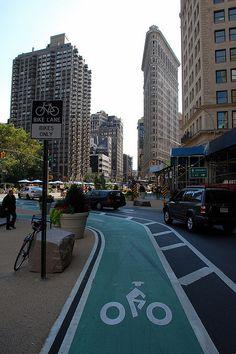 Broadway Bike Lane, NYC. Click image to enlarge and visit the slowottawa.ca boards >> https://www.pinterest.com/slowottawa/