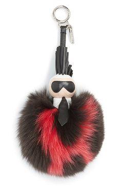 Fendi 'PompomKarl' Genuine Fox Fur & Leather Bag Charm available at #Nordstrom
