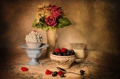 Still-Life, Blueberries And Cream