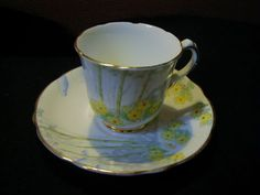 """Gladstone English Tea Cup and Saucer  Art Deco Yellow Green Teacup """"Springtime"""" <br/>Cups & Saucers - 63525"""