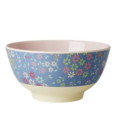 Melamine Bowl Two Tone with Wild Flower Print