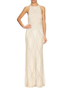 Beaded Halter Gown by Mikael Aghal at Gilt