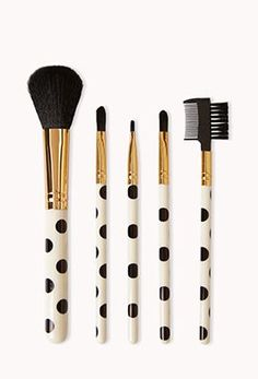 Polka dotted makeup brushes