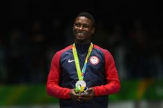 RIO DE JANEIRO, BRAZIL - AUGUST 10: Silver medalist Daryl Homer of the United States poses on the podium during the medal ceremony for the men's individual sabre on Day 5 of the Rio 2016 Olympic Games at Carioca Arena 3 on August 10, 2016 in Rio de Janeiro, Brazil. (Photo by Dean Mouhtaropoulos/Getty Images)